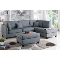Bobkona Dervon Polyfabric Left or Right Hand Chaise Sectional with Ottoman Set, Multiple Colors - Walmart.com