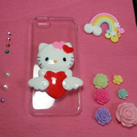 Customized Hello Kitty with Angelic Heart Bling Bling Case, Iphone 4 4s 5 5c 5s, Samsung S4, Note 3, Sony Z1