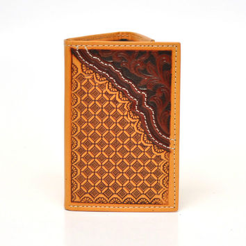 Nocona Tri-Fold Genuine Leather Tooled Western Men's Wallet-N5470248