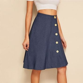 Button Up Circle Denim Skirt Women  A Line Flared Skirts 2019   Navy Solid Mid Waist Midi Skirts