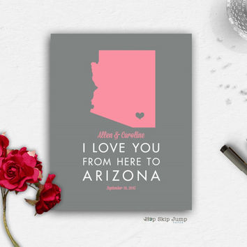 Personalized Arizona State Map Travel Poster