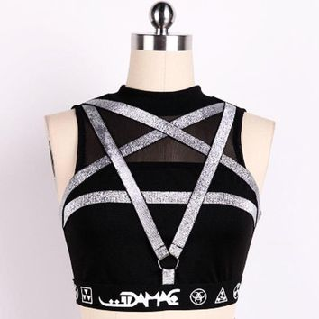 Punk Pentagram Silver Crop Top