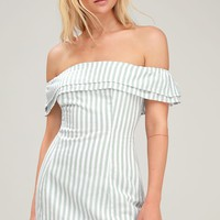 Seaside Skipper Sage Green Striped Off-the-Shoulder Mini Dress