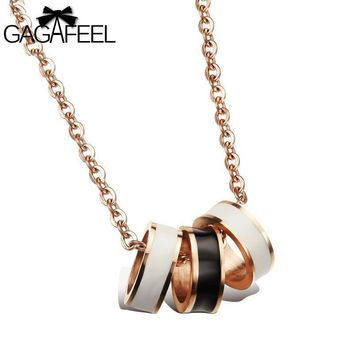 GAGAFEEL Necklace Friendship Pendants Men Gold Color Jewelry Black White Epoxy 3 Circle Pendant Clavicle Luxury Gifts
