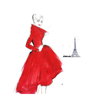 Watercolor Fashion Illustration Dior and by JessicaIllustration