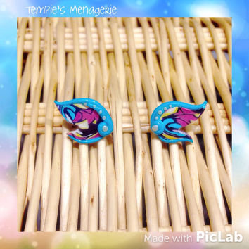 Fey / Fairy Dragon wing / Brightwing WoW handmade polymer clay stud earrings gamer geek geekery - made to order - by Tempie's Menagerie