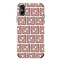 Fendi Fashion New More Letter Print Women Men Phone Case Protective Cover Pink