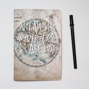 Not All Who Wander Are Lost Notebook  Canvas Journal  Hand Lettered   Back to School