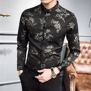 2018 spring men's shirt long-sleeved casual color men's shirt