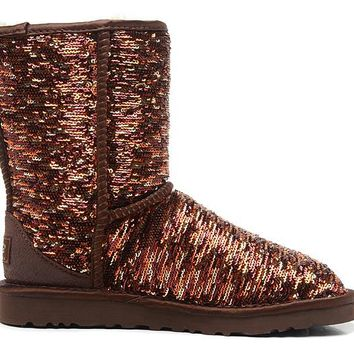 LFMON UGG 1002978 Flipped Over Sparkles Women Fashion Casual Wool Winter Snow Boots Bronze