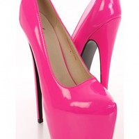 Neon Hot Pink Patent Faux Leather Pump Heels