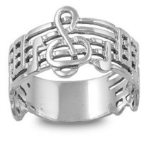Sterling Silver Music Note G-Cleff Ring (Size 5 - 10)