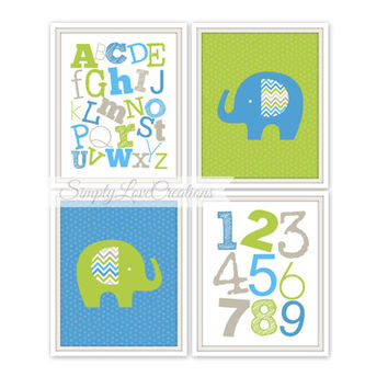 "Elephant Prints - ABC's and 123's Print  // Set of four 8""x10""s // Nursery Wall Art // Boys Room Decor // Elephant Nursery Decor"