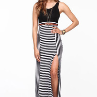 Striped Slit Maxi Dress - LoveCulture