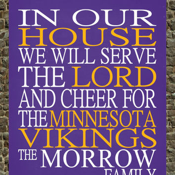Customized Name Minnesota Vikings NFL football personalized family print poster Christian gift sports wall art - multiple sizes