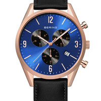 BERING Classic - Men's Chronograph Watch Rose Gold with Blue Dial - 10542-567