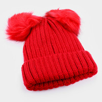 Double Fur Pom Pom Knit Beanie Hat - Red