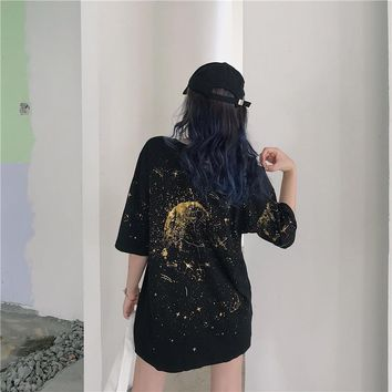 Harajuku Starry Sky T-Shirts Women Casual Short Sleeve Unisex Tees Women Clothes Fashion Loose Tops New Summer