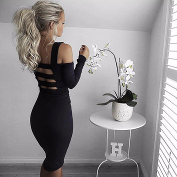 2016 New Backless Off Shoulder Autumn Dress Sexy Club Bandage Dress Midi Women Dress Black Bodycon Summer Party Dress Vestidos