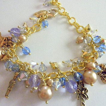 Sapphire and Gold Christmas Charm Bracelet,Holiday Bracelet,Blue and Gold Bracelet, Christmas Jewelry