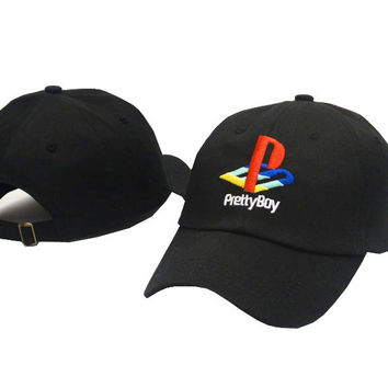 PRETTY BOY Embroidered Baseball Cap Hat Black