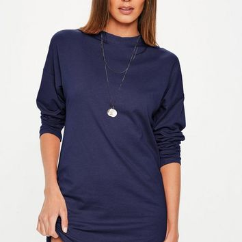 Missguided - Navy Long Sleeve T Shirt Dress