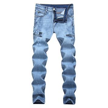 Men Ripped Holes Stretch Slim Print Decoration Zippers Jeans [264172306461]