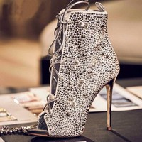 Embellished High Heel Booties