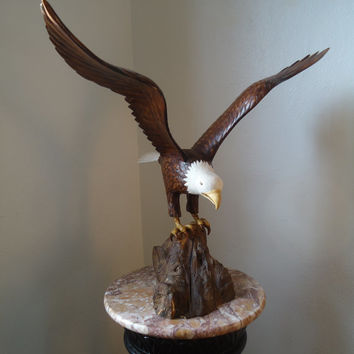 American Bald Eagle sculpture - Hand carved wood Eagle sculpture - Large wood sculpture - Home decor - Wooden Eagle - Bald Eagle - Artwork
