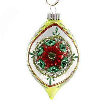 Shiny Brite HS ROUNDS & TULIPS W/REFLECTOR. Christmas Ornament 4027566 Lime.