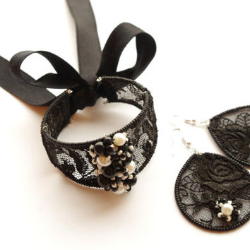 Black lace earrings and bracelet. Elegant evening jewelry set. Statement jewelry.