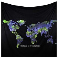 Large Black and Blue Multi World Map Tapestry on RoyalFurnish.com