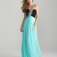 Water & Black Chiffon Rhinestone One Shoulder Prom Dress - Unique Vintage - Cocktail, Pinup, Holiday & Prom Dresses.