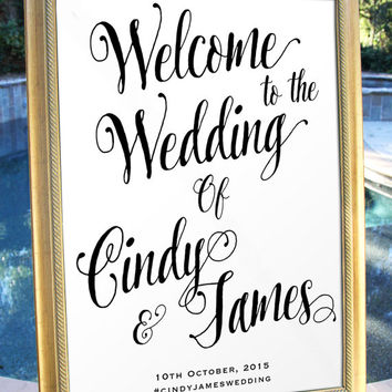 Printable Simple Script Welcome Wedding Sign Customized Wedding poster wedding decor print art DIY wedding welcome Wedding decoration