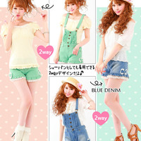 Rakuten: [S~L] 2WAY design! Color or denim ♪ Ribbon & frill salopette- Shopping Japanese products from Japan