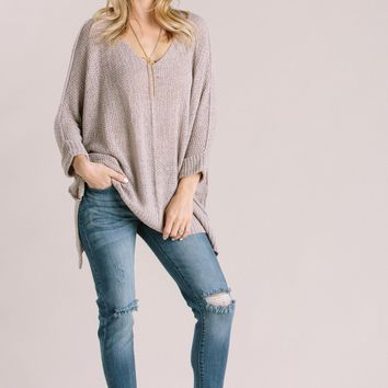 Izzy Grey Knitted High Low Sweater