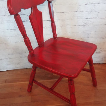 Shabby Chic Rustic Red Chair // Accent // Office // Kitchen // Dining Room