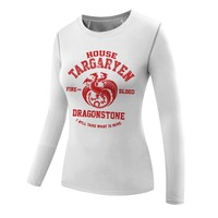 customized game of thrones shirt woman compression shirt long sleeves stark shirts girl House targaryen khaleesi t shirt mulher