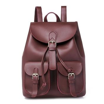 School Backpack trendy OTHERCHIC Drawstring Women Casual Backpacks PU Faux Leather School Bags Girls Daypack Knapsack Sac A Dos Mochila 8N06-14 AT_54_4