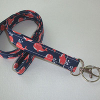 Lanyard  ID Badge Holder - Little coral Whales on Navy  - Lobster clasp and key ring office coworker gift