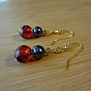 Red and Blue Astronomer Earrings by EudaimoniaJewelry on Etsy