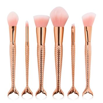 6pcs/set Rose Gold Mermaid Makeup Brushes