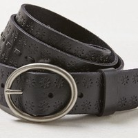 AEO Women's Stitched Leather Belt (Black)