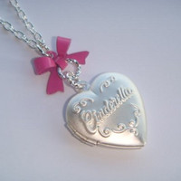 Silvertone Cinderella Heart Locket Bow Necklace
