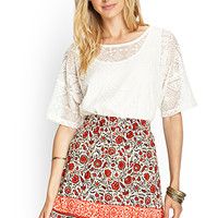 LOVE 21 Gauzy Floral Mini Skirt Tan/Black
