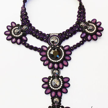 Soutache Necklace,Soutache jewelry,Soutache OOAK,Soutache elegant,statement necklace.