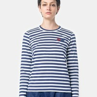 Long Sleeved Striped T-Shirt with Red Heart in Navy/White