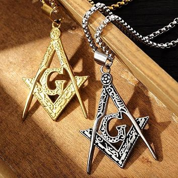 Vintage Square Compass Motif Masonic Pendant Necklace