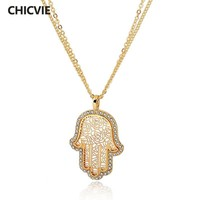 Gold Plated Crystal Hamsa Necklace For Women