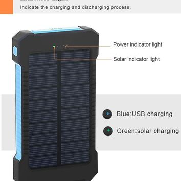 20000mAh  Waterproof Solar Power Bank Solar Charger 2 USB Ports External Charger Solar Powerbank for Smartphone with LED Light